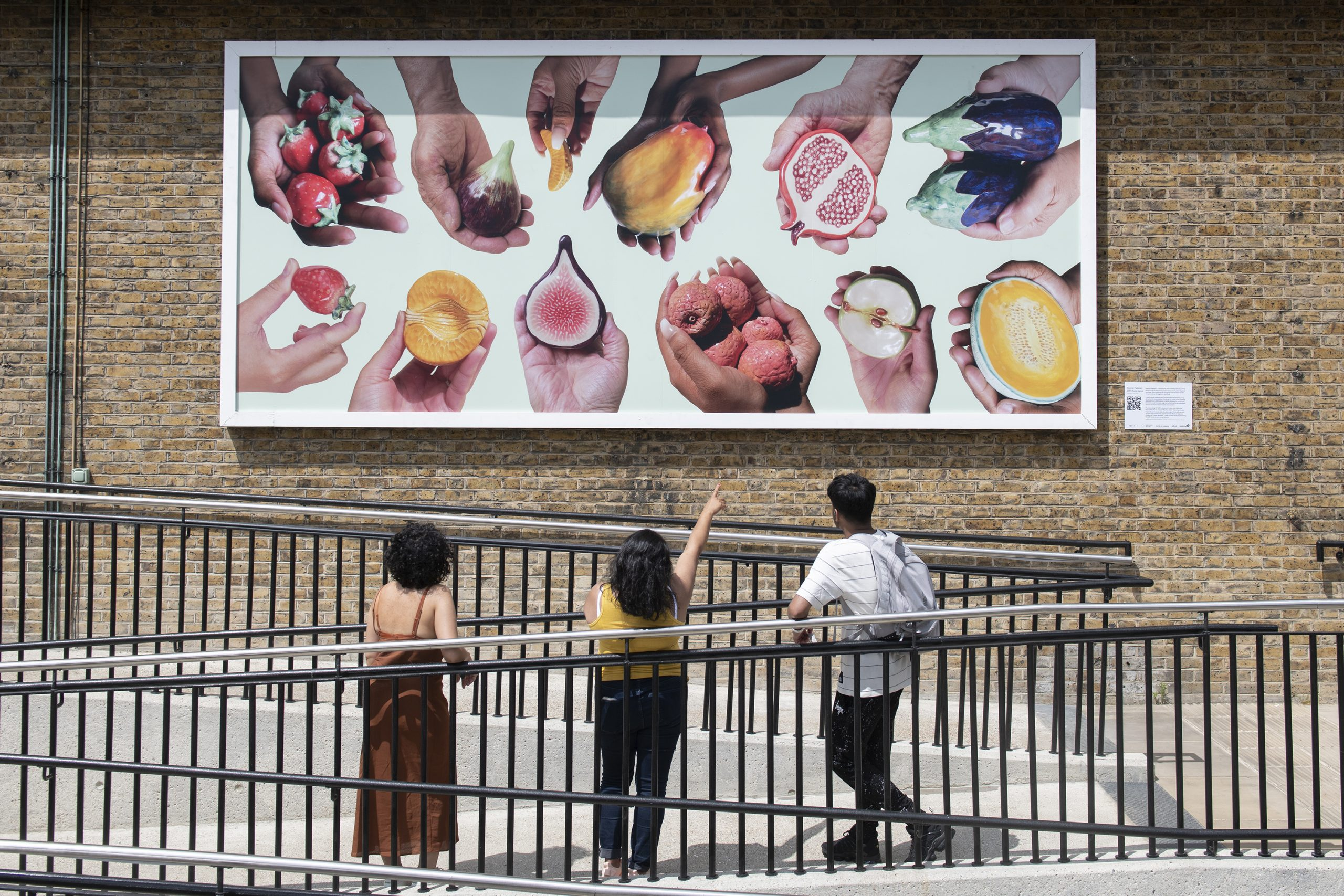 Yasmin Falahat 'With these hands' billboard commission at SPACE Ilford 2021. Photo: David Mirzoeff