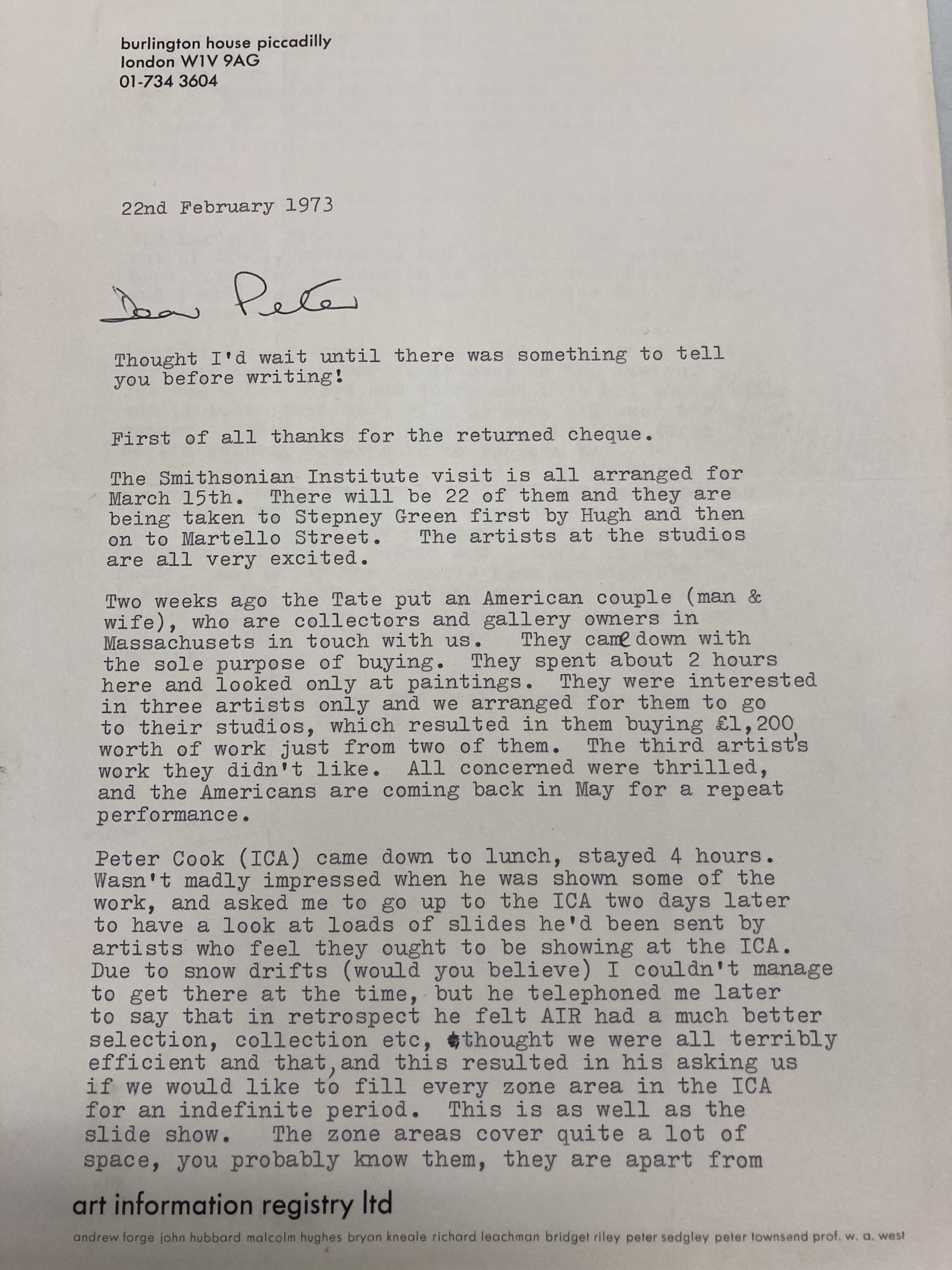 Letter to Peter Sedgley 8 Aug 1973 from Lindy C. Huthinson, Secretary of the RA (p1)