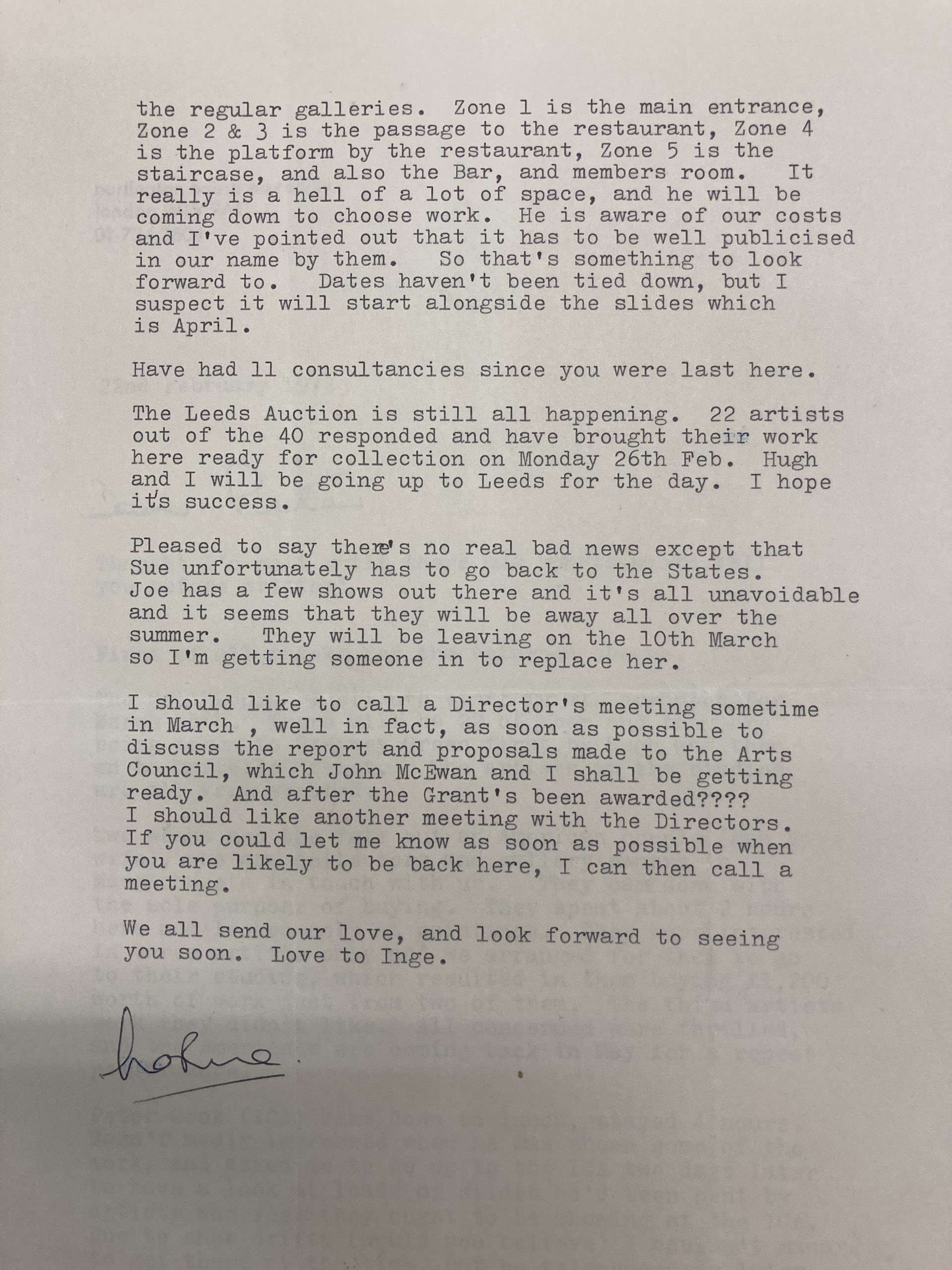 Letter to Peter Sedgley 8 Aug 1973 from Lindy C. Huthinson, Secretary of the RA (p2)